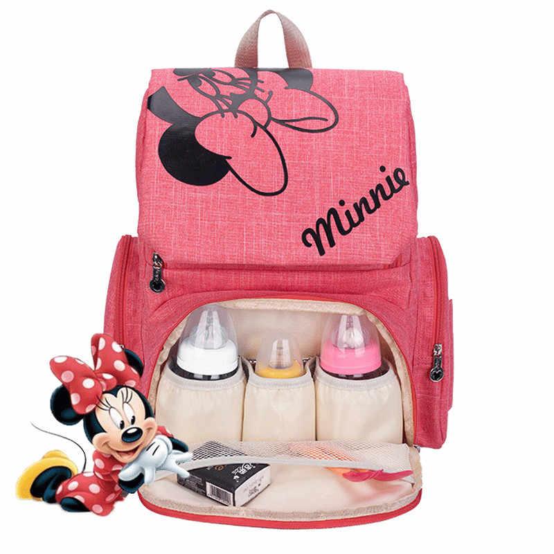 Mochila para mamá Mickey Minnie clásico de Disney, bolsa de pañales para bebé, paquete de botellas para coche, bolsa para mamá de gran capacidad