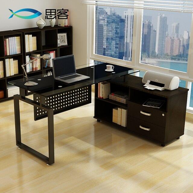 mejor material de oficina muebles templado jefe escritorio de la computadora esquina mesa de gabinete con