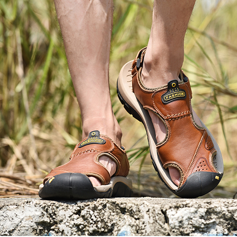 men leather sandals genuine leather casual sandal shoes men slides heren slippers men beach sandals novidades para vender 2019 sandal