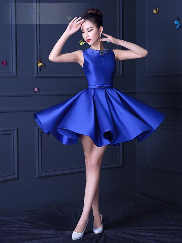 Women 2016 Lace Appliques O Neck Royal Blue Cocktail Dresses Arrival ...