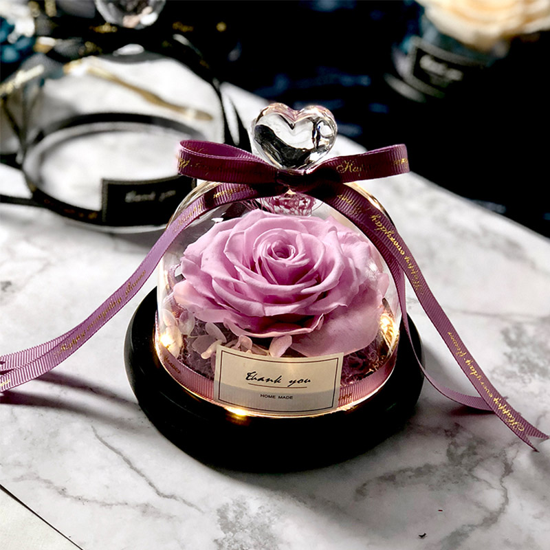 Новинка, красивая и чудовищная Роза в стеклянном куполе, светодиодный светильник, украшение для дома на День святого Валентина, рождественские подарки - Цвет: Purple Love