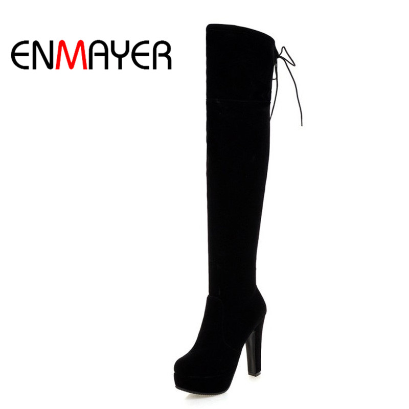 ENMAYER Woman Shoes High Quality Sexy Fashion Square Heel Platform Winter Over Knee High Woman Round Toe Zippers Shoes Woman enmayer sexy red shoes woman high heels bowties charms size 34 47 zippers round toe winter over the knee boots platform shoes
