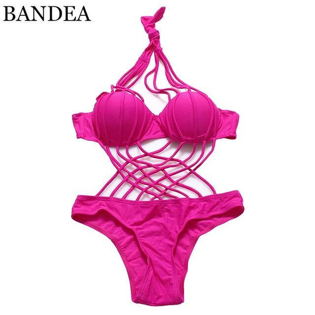 BANDEA solid swimsuit women one piece swimwear criss cross swimsuit sexy cut out bathing suit push up monokini trajes de bano