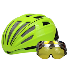 Ultralight Goggles Bicycle Helmet Double Layers In-mold Road Mountain Cycling Helmet Casco Ciclismo Bike Helmet Goggles Glasses