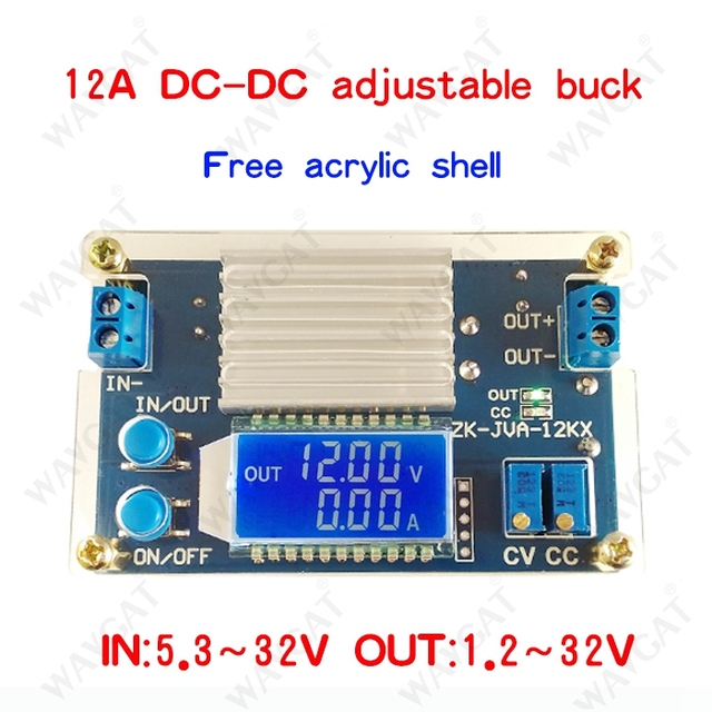 12A constant voltage constant current LCD digital voltage current display adjustable step-down power supply module