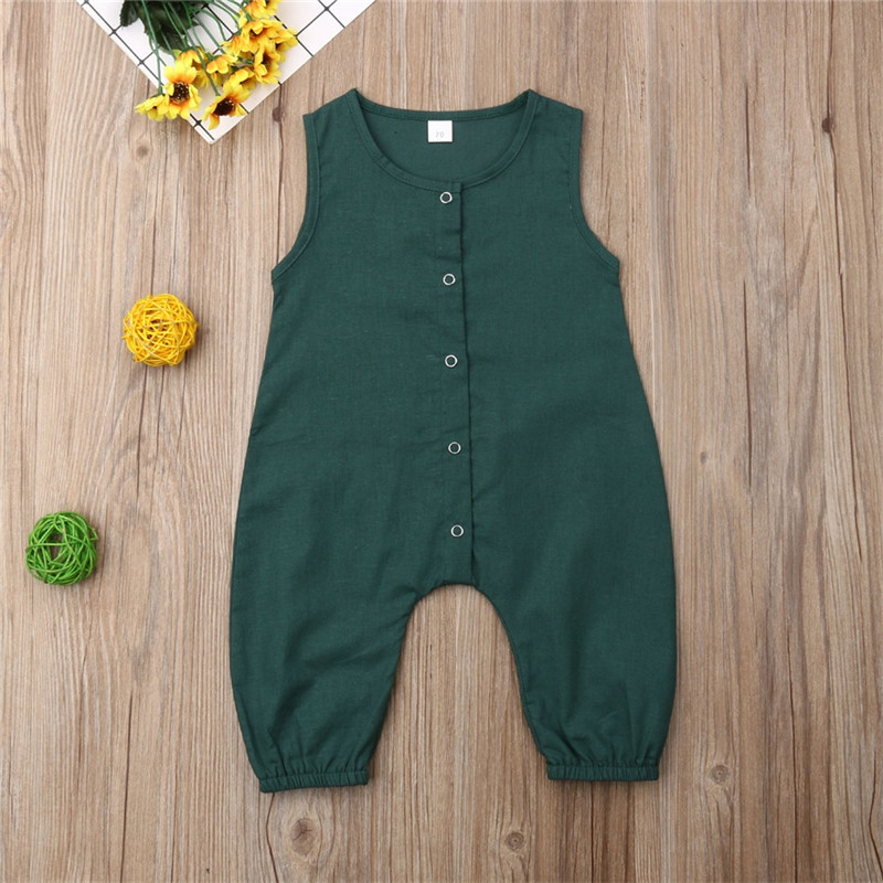 PUDCOCO Cute Kids Newborn Baby Boy Girl Cotton Linen Romper Solid Sleeveless Striped Jumpsuit Outfit Summer Casual Clothes 0-24M
