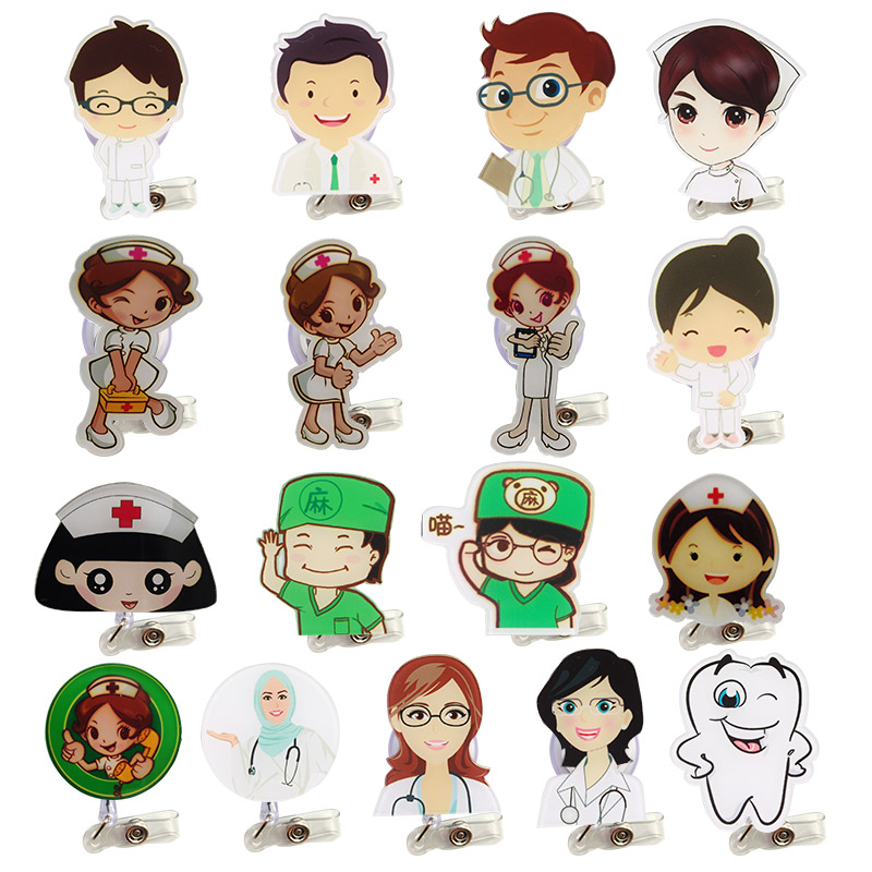2019 Cute Cartoon  Student Nurse Retractable Reel Badge Holder Lovely Kids Reels