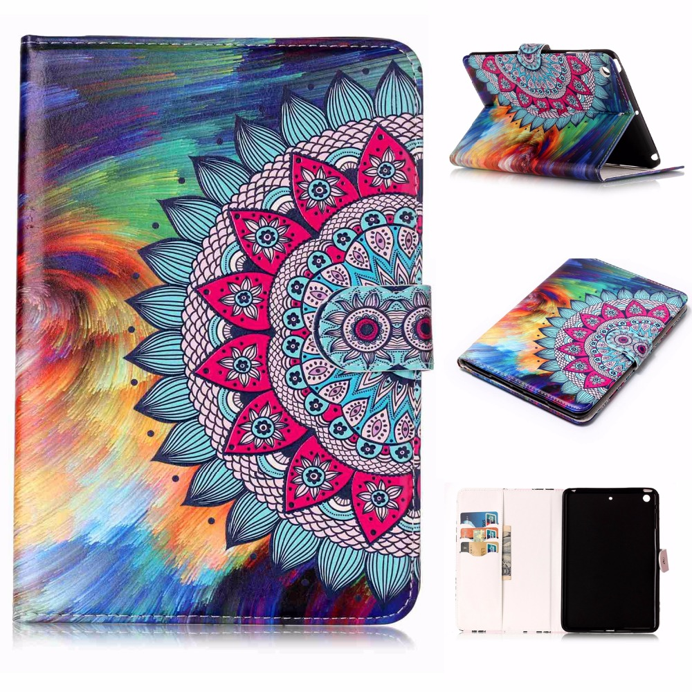 Case for iPad Mini 1 2 3 Gen, Painting Flip PU Leather Card Holder Stand Cover for iPad Mini 1 2 3