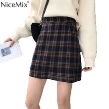 NiceMix Spring Harajuku Women Skirts Plaid Kawaii Skirt High Waist A-line Mini Korean Streetwear Faldas Mujer Moda 2019