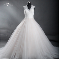TW0199 Beauty Champagne And White Tulle Vestid De Novia Bling Beading Lace Ball Gown Wedding Dress