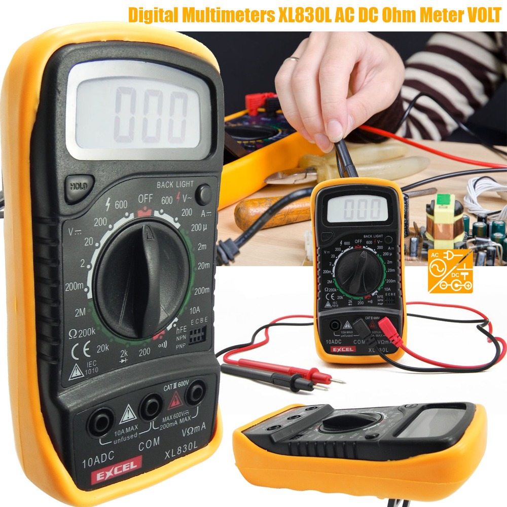 1PCS XL830L LCD Digital Multimeter Current Voltage Resistance Transistor hFE Multimetro multitester medidor dijital multimetre