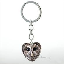 2016 Vintage nocturnal bird Owl keychain steampunk Owl art picture heart pendant key chain ring lucky birds jewelry gift HP554