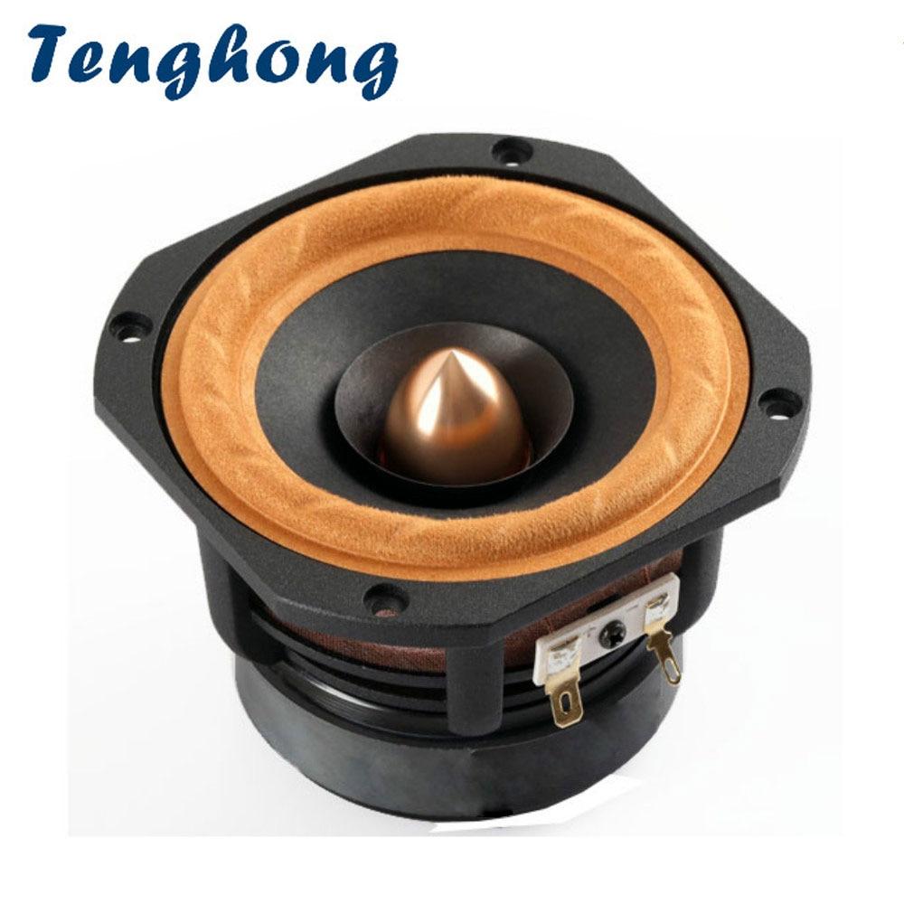 Tenghong 1pcs 4 Inch Bookshelf Audio Speaker 4Ohm 8Ohm 30W HIFI Treble Mediant Bass Loudspeaker Desktop Speaker Aluminum Frame