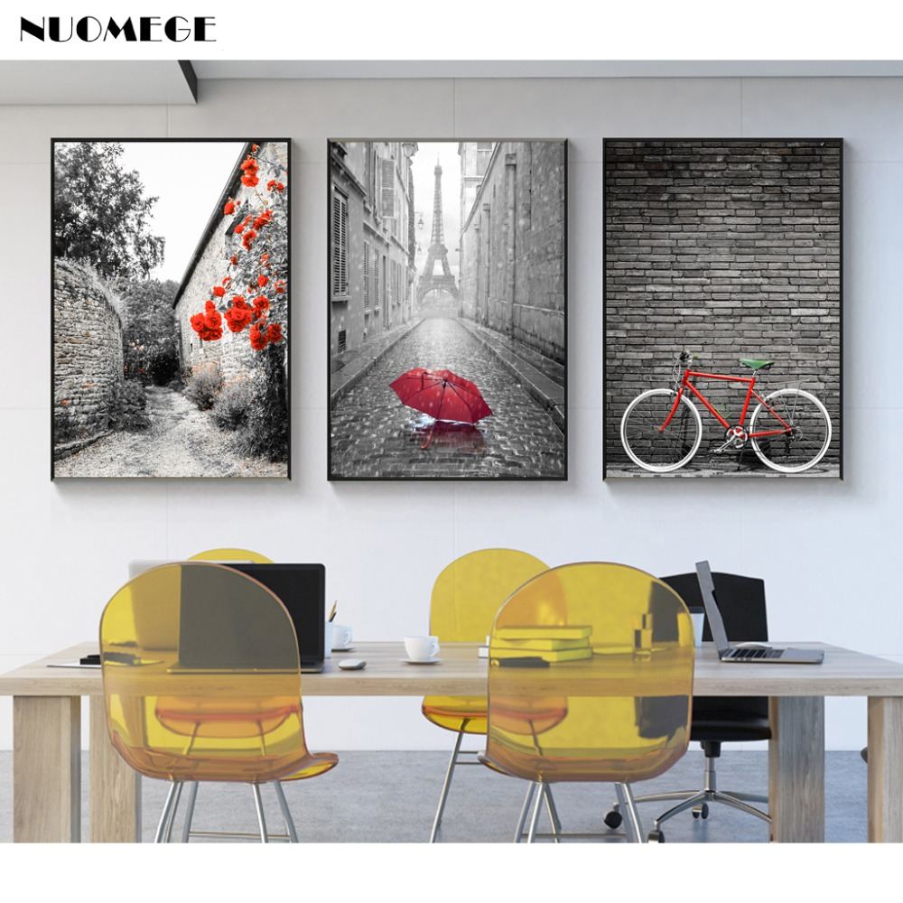 Buy nuomege nordic simple red bicycle - Landscape paintings for living room ...