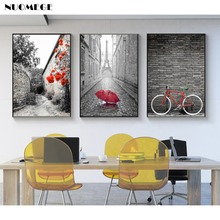 NUOMEGE Nordic Simple Red Bicycle Canvas Painting Tower Poster Landscape Paintings for Living Room Wall Decorative Picture