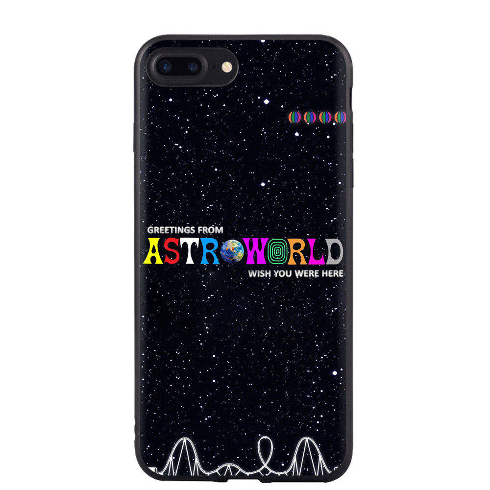 Travis Scott Astroworld Phone Case For Apple iPhone X XS Max XR 8 Plus 7 Plus 6 6S Plus 5 5S SE Soft Silicone Black Cover