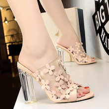 Summer high-heeled slippers 2019 new Korean fashion transparent with crystal and small flowers sweet beauty shoes