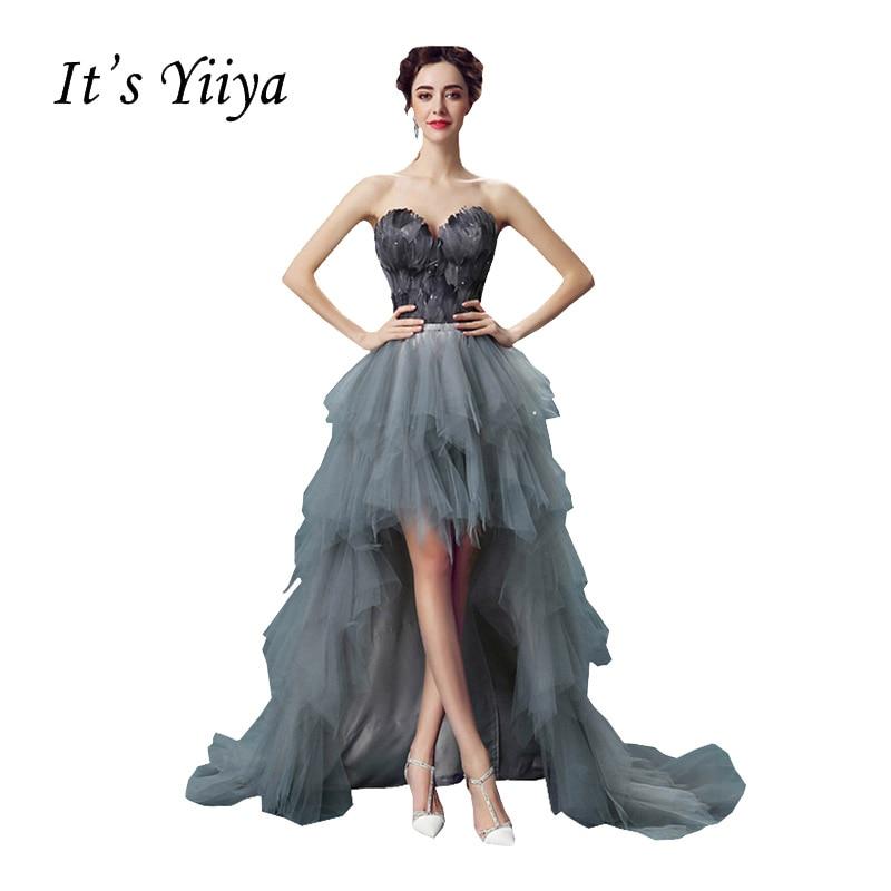 Its Yiiya 2017 Gray Popular Sleeveless Strapless Wedding Frocks Special Feathers Wedding Gown Crystal On Waist De Novia QXN011