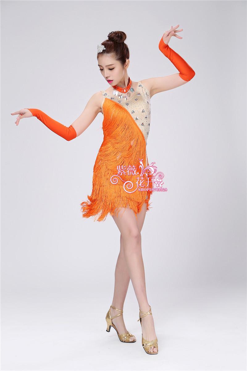 Picture of 2016 Women Professional Latin Dance Competition Dress Customize Children Orange Tassel Sequined Rumba Samba Costumes For Girls
