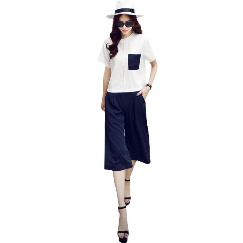 Women Summer Casual O-neck Short Sleeve Tops+ Wide-Leg Pants Two Piece Set
