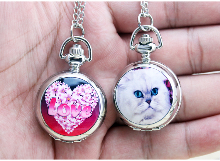 New Fashion Silver Elegent Lovely Cat With Mirror Case Quartz Pocket Watch Analog Pendant Necklace Mens Womens Gifts