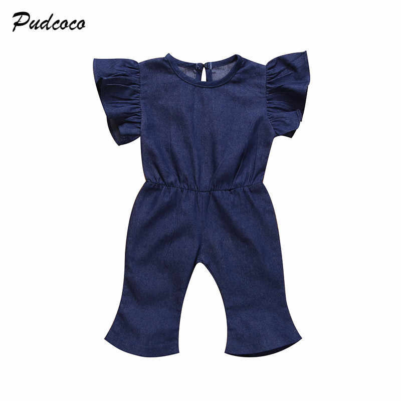 33c471a6f72 1-7Y Fashion Children Girls Denim Romper Ruffles Sleeve Toddler Kids  Jumpsuit Bell Bottom Jeans