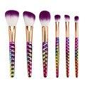 6 unids púrpura Pinceles de Maquillaje Conjunto de nido de abeja mango rainbow Eyshadow Cosmética Fundación Colorete Powder Brush belleza herramientas kits
