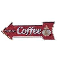COFFEE Signboard Shabby Chic Arrow Metal Plates Cafe Garage Bar Home Shop Decorative Plates Vintage Irregular