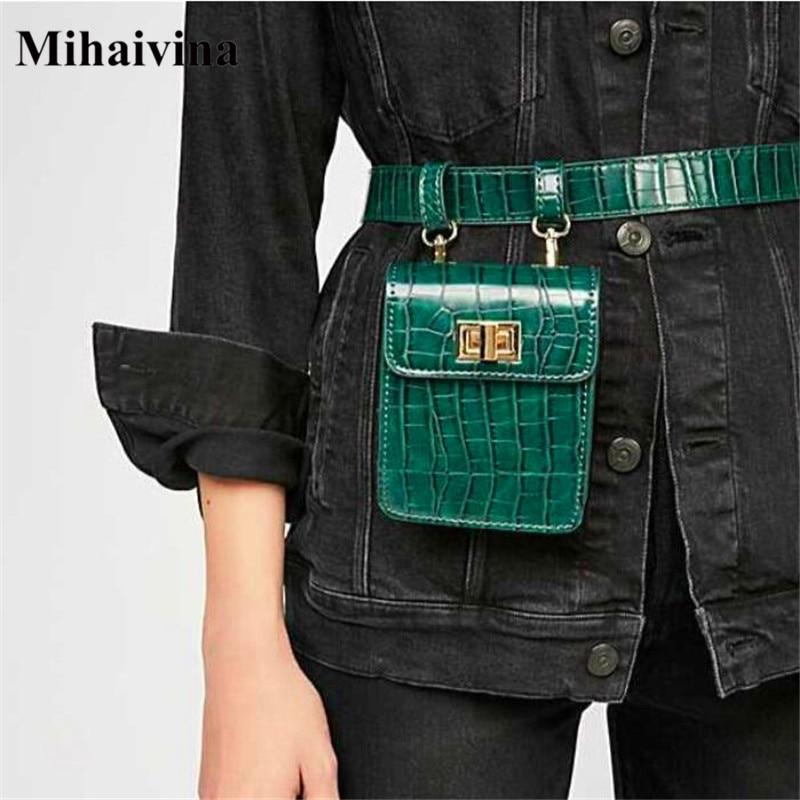 Mihaivina Alligator Fanny Packs For Women Leather Belt Waist Pack Mini Shoulder Bag Lady's Belt Bags Chest Handbag Shoulder Bag