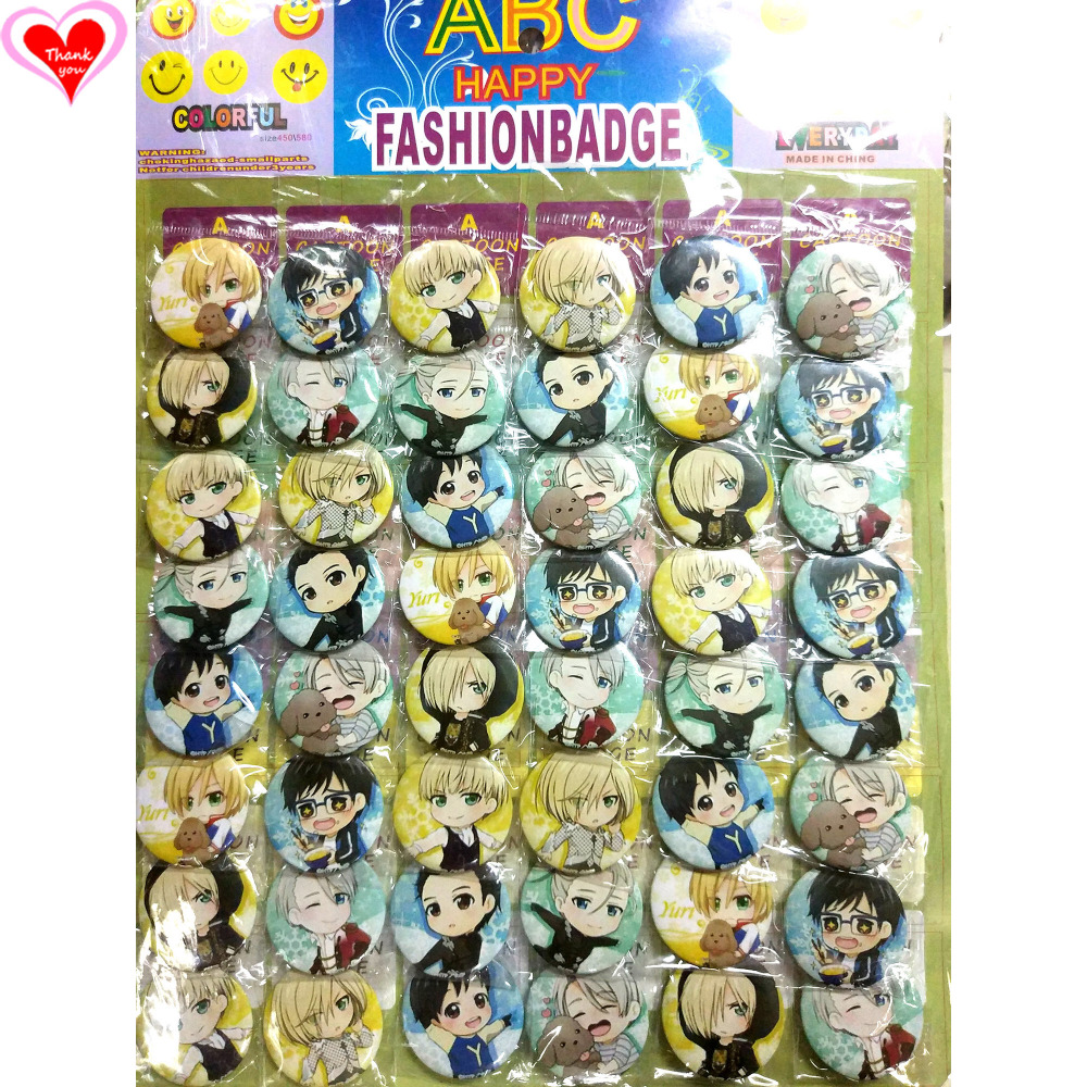 Love Thank You YURI !!! op ICE 45 MM 16/24/32/40/48 pcs lot PIN TERUG BADGE KNOOP BROCHE voor TAS GESCHENK SPEELGOED DOEK Cartoon & anime