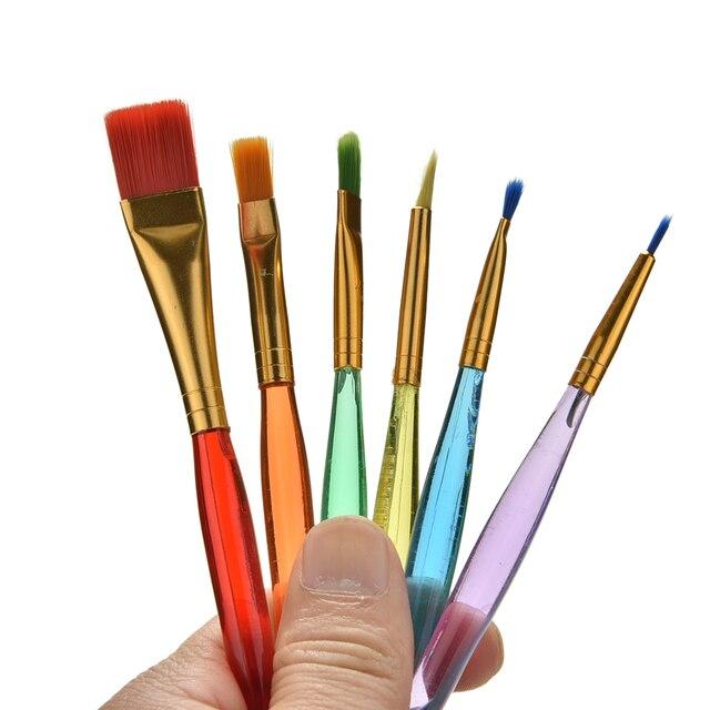 6 unids/set niños estudiantes acuarela Guache pintura pluma Nylon pelo rojo mango de madera pincel Set dibujo arte suministros