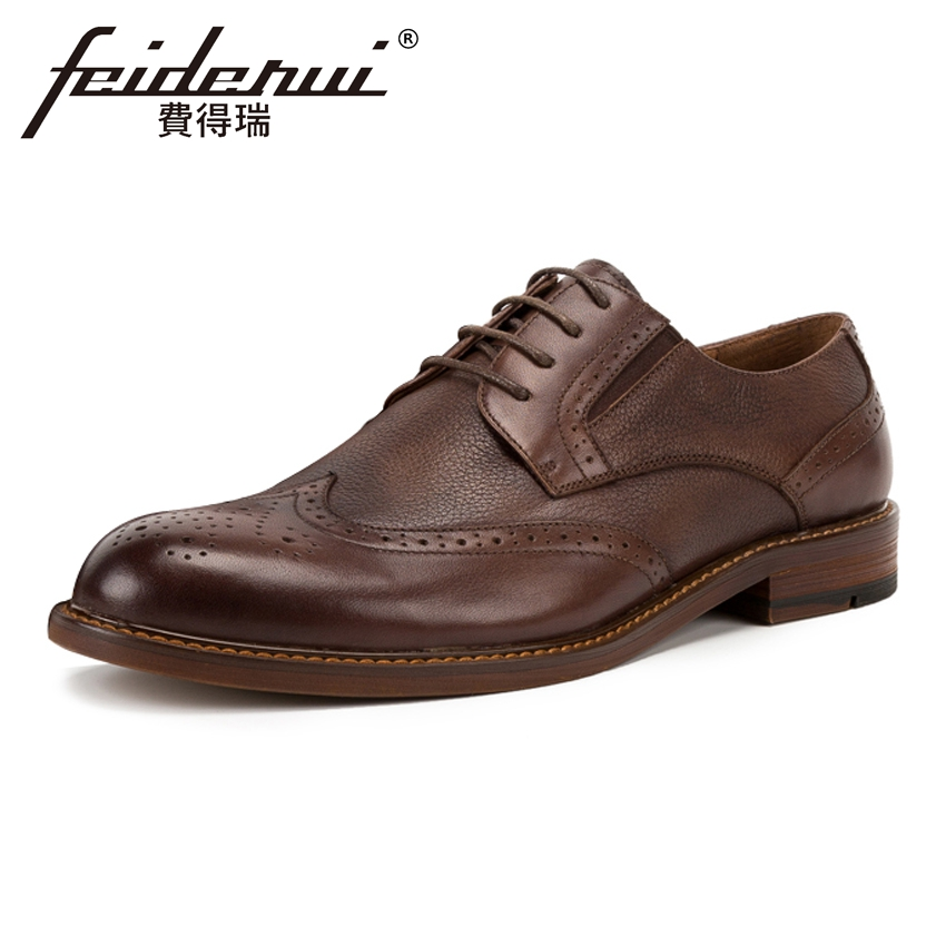 Vintage Genuine Leather Men's Handmade Footwear Round Toe Derby Man Wingtip Flats British Formal Dress Brogue Shoes KUD57 krusdan british style vintage man brogue shoes genuine leather handmade oxfords round toe derby formal dress men s flats nk63