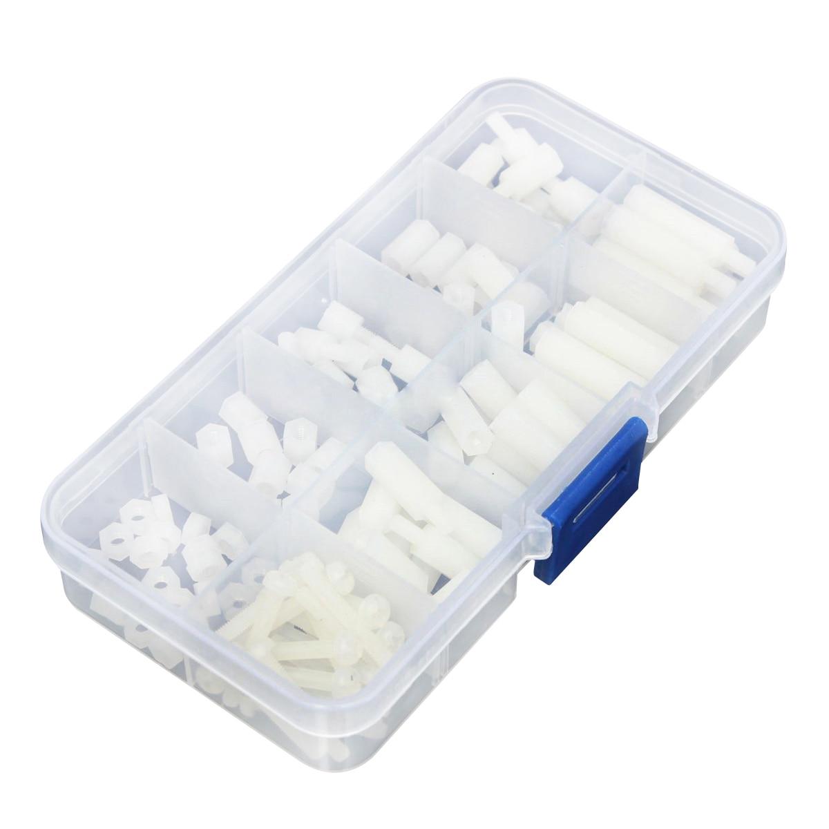 Box of 120Pcs M3 Nylon Hex Spacers Screw Nut Stand-off Plastic Accessories Kit White 150pcs m3 white hex spacers nylon screw nut washer assortment standoff kit stand off plastic