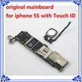 Desbloqueo de fábrica mothebroard mainboard con huella digital de 64 gb original para iphone 5s con touch id placa lógica original + botón de inicio