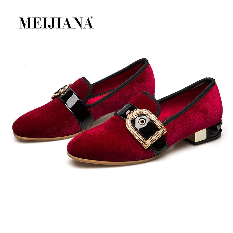 MEIJIANA 2019 Genuine Leather Pumps Round Toe Low Heels Women Pumps Wedding With Buckle Handmade Comfort