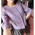 Cuero Genuino de las mujeres Chaquetas y Abrigos Otoño prendas de Vestir Exteriores de Luz Púrpura/Negro/Delgado/Piel De Oveja LW9066