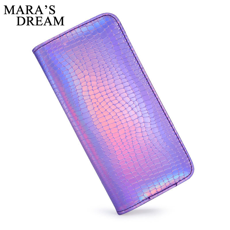 Mara's Dream 2018 PU Leather Fashion Holographic Women Long Zipper Wallets Laser Hologram Wallets Clutch Women Luxury Purses