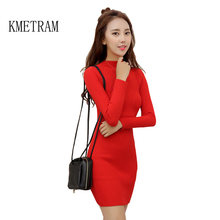 bec34aa0008 2019 Autumn and Winter Female Half Turtleneck Pullover Sweater Dress Women  Slim Warm Cotton Sweater White
