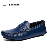 LINGGE Big Size 47 Genuine Leather Shoes Mens Slip On Shoes Black Loafers Men Moccasins Shoes Italian Designer Shoes