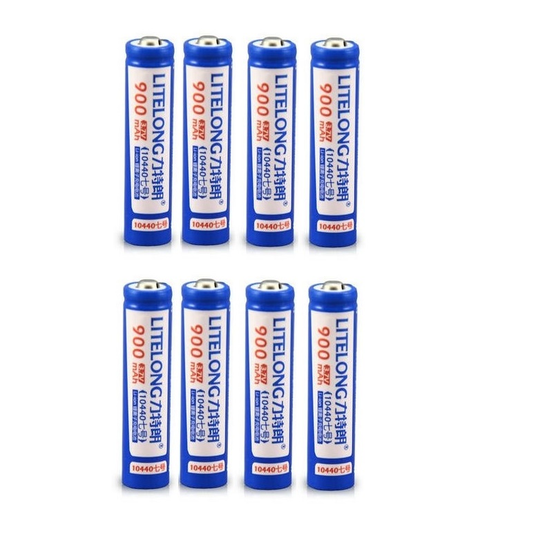 8pcs/lot 3.7v 10440 lithium battery super capacity hand suitable for flashlight toy 900MAH AAA rechargeable battery image
