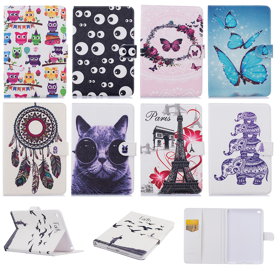 Fashion Butterfly Cat Pattern PU Leather Flip Case Funda For Apple iPad mini4 7.9 inch Tablet Back Cover Coque For iPad mini 4