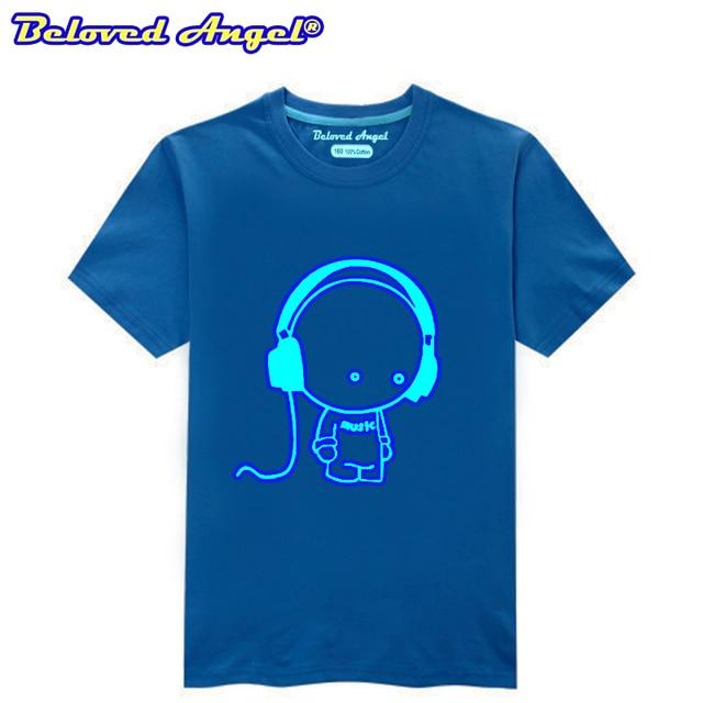 Summer Boys Short-sleeve T-shirt Luminous Girls Summer Tops Kids T Shirt Cotton 3D Funny Print Teenage Clothing Children Clothes