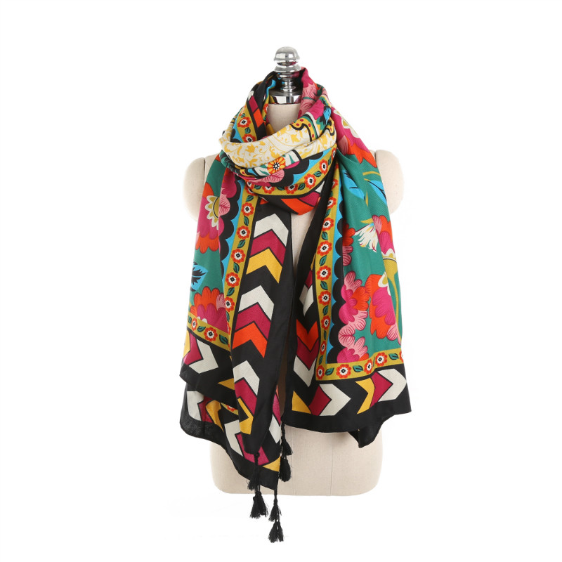 Retro Ethnic Thin Cotton Scarf Women Youth Ladies Scarf Printed Geometric Floral Pattern Shawl & Wrap Scarves Big Size <font><b>190*90</b></font> cm image
