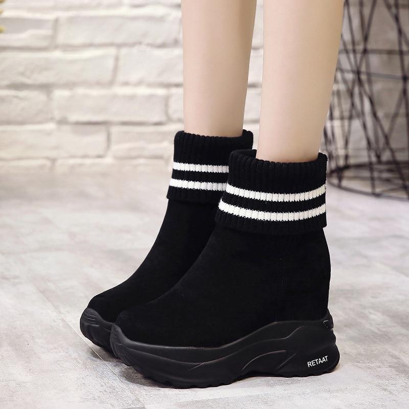 Altura Negro rojo Zapatos Otoño Aumento Plataforma De Cm Alto Mujer Moda 10 4379 Cuña Mujeres Deportivas Las Zapatillas Casual Tacón Botas BpOWqHR