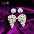 2015 New design Shambhala high quality double ball white spike rhinestone Shambala stud earrings/ new fashion jewelry for women