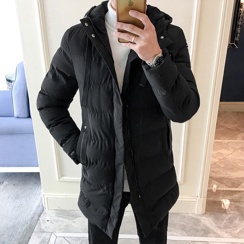 Winter Jacket Men Thick Warm Fashion Long Coat Casual Solid Color Windproof Windbreaker Streetwear Cotton Male Clothes   Parka   Man
