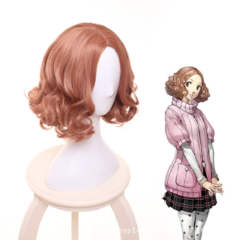 Hot Anime Game Persona 5 Haru Okumura Cosplay Wig Halloween Play Short Curly Wig Party Stage High Quality Hair