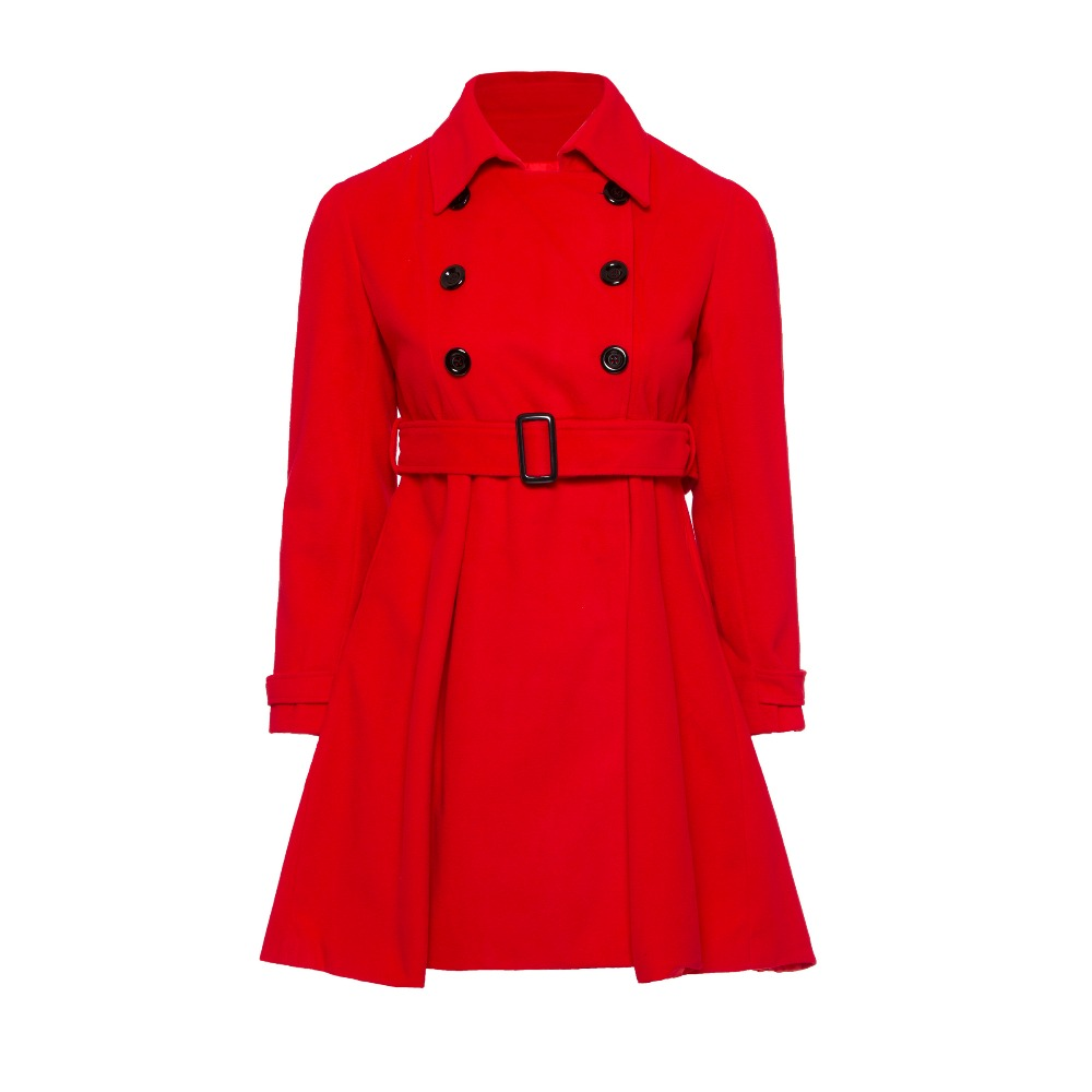 Women Wool Coats Plus Size Belt Button Long Sleeve Lapel