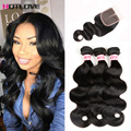Peruvian Virgin Hair With Closure 7A Peruvian Body Wave With Closure 3 Bundles With Closure HC Hair Bundles With Lace Closures