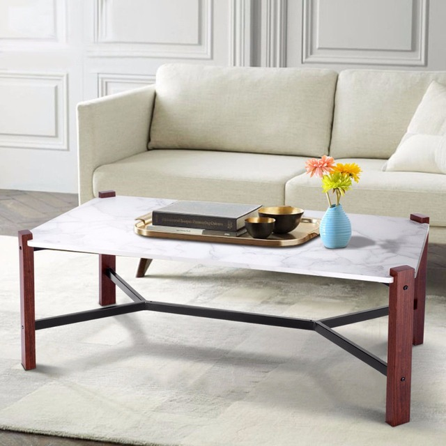 Giantex Coffee Table Accent Tail White Faux Marble Top Living Room Furniture Home Hw58606